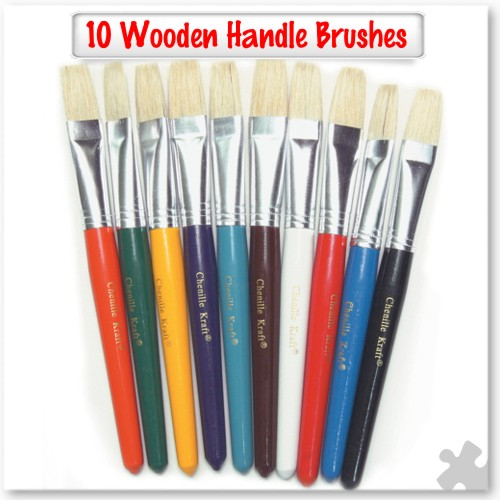 10 Wooden handle brushes - Flat