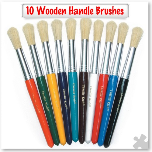 10 Wooden handle brushes - Round