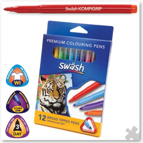 12 Swash Komfigrip Broad Tip Colouring Pens