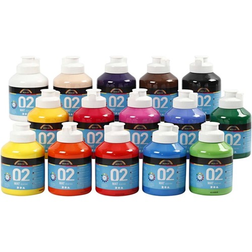 Acrylic Paint in Assorted Matt Colours, 15x500ml