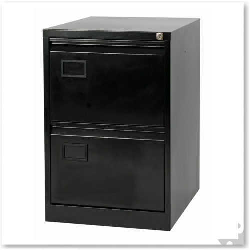 2 Drawer Flush front Filing Cabinet - Black