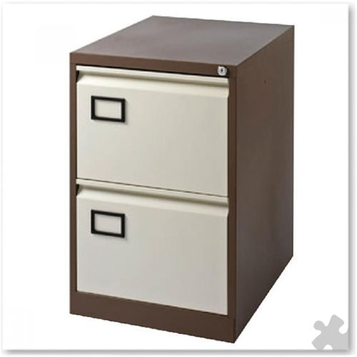 2 Drawer Flush front Filing Cabinet - Coffee/Cream