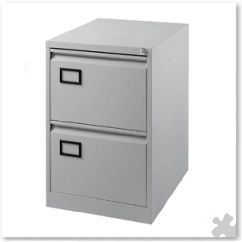 2 Drawer Flush front Filing Cabinet - Grey