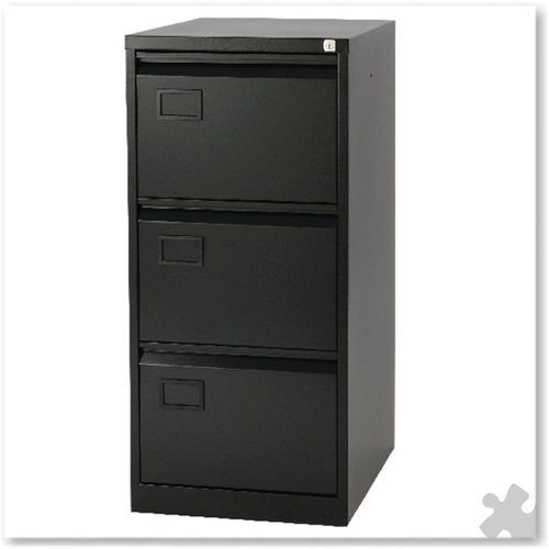 3 Drawer Flush front Filing Cabinet - Black