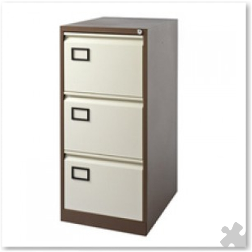 3 Drawer Flush front Filing Cabinet - Coffee/Cream