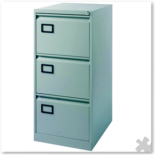 3 Drawer Flush Front Filing Cabinet - Grey