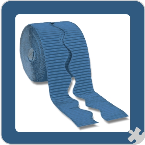 Rich Blue Bordette Border Roll, Scalloped Edge