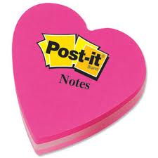 Fun Shaped Notes 70 x 70mm 12pk Heart Pink Rainbow