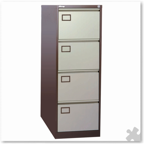 4 Drawer Flush front Filing Cabinet - Coffee/Cream
