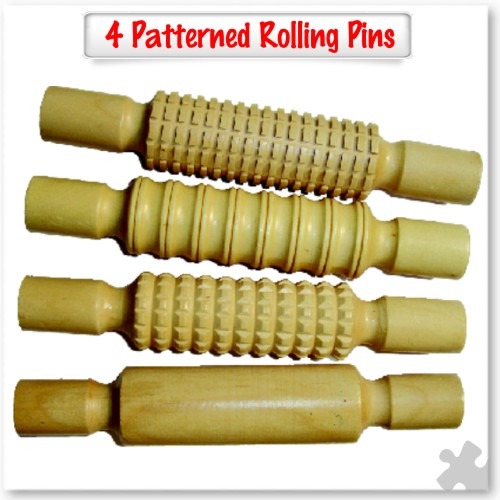 4 Patterned Wooden Rolling Pins
