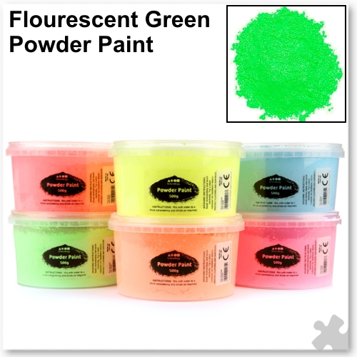 Fluorescent Green Powder Paint - 500g Tub
