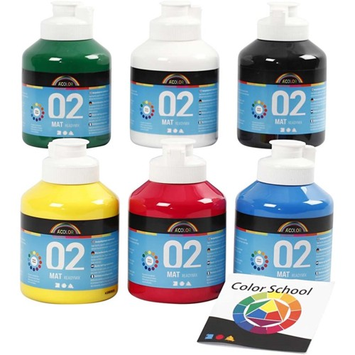 Acrylic Paint in Assorted Matt Colours, 6x500ml
