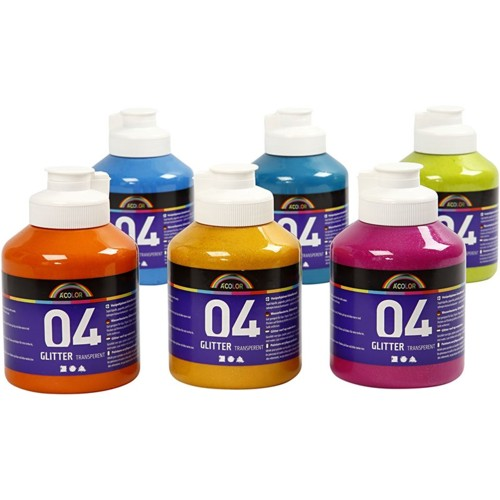 Acrylic Paint in Assorted Glitter Colours, 6x500ml