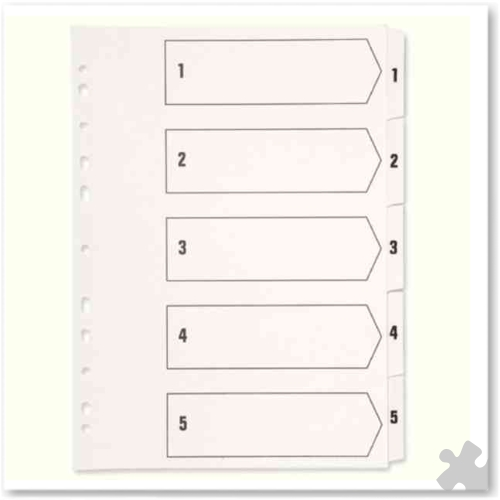 A4 Polypropylene Indexes, White, 1-05