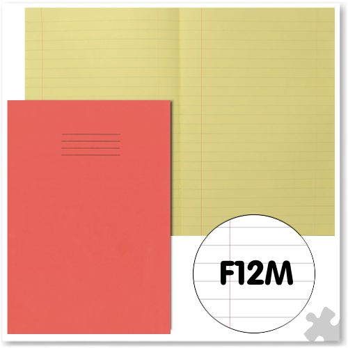 A4 Red Exercise Book with Tinted Cream Paper F12M