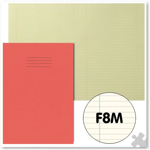 A4 Red Exercise Book with Tinted Cream Paper F8M