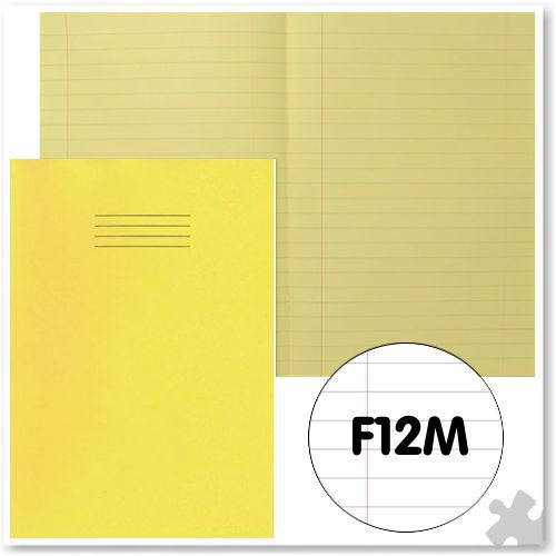 A4 Yellow Exercise Book with Tinted Cream Paper F12M