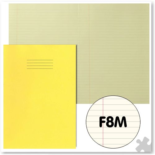 A4 Yellow Exercise Book with Tinted Cream Paper F8M