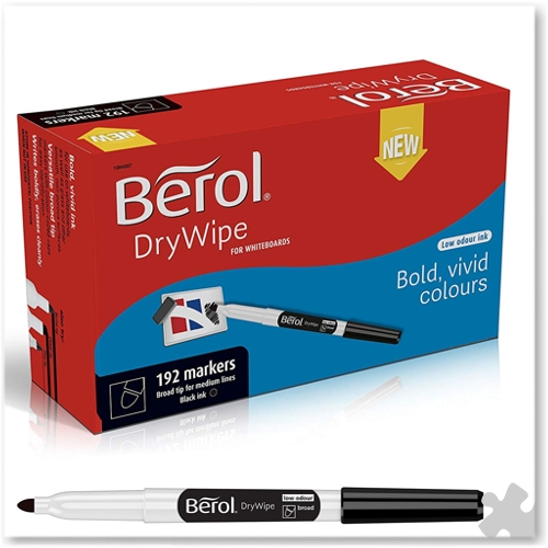 Berol Dry Wipe Broad Tip Pens - 192 Black