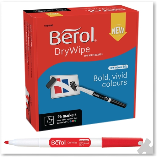 Berol Dry Wipe Broad Tip Pens - 96 Assorted