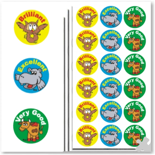 25mm Round Stickers, Brilliant, Excellent, Very Good