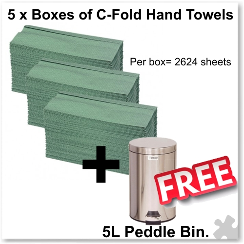 5 Boxes of C-Fold Hand Towels Plus 5L Peddle Bin FREE