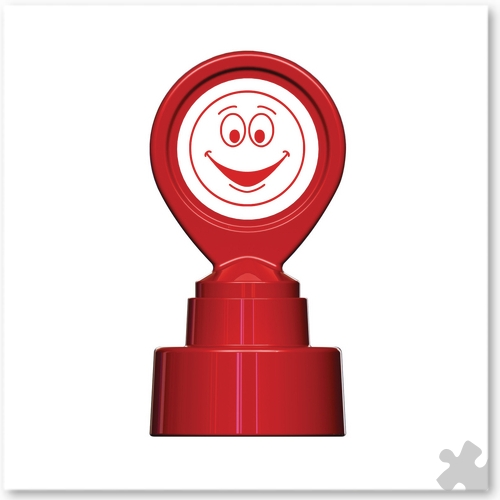 Motivational Stamp - Happy Face Red
