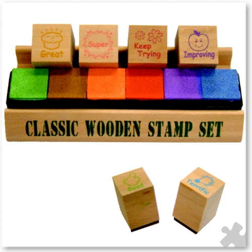 Motivational Wooden Stamp Set, 6 stamps and ink pads
