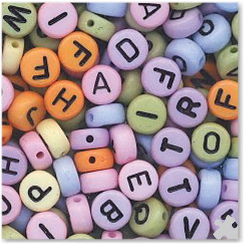 Letters Beads Assorted Colours