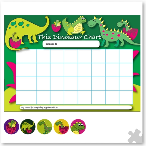 dinosaur reward chart with stickers  dps207