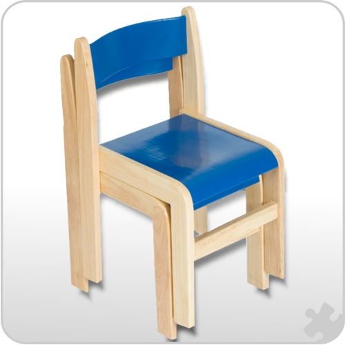Blue/Natural Wooden Chairs