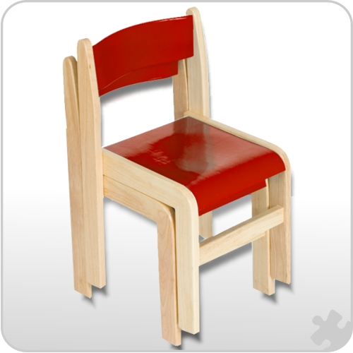 Red/Natural Wooden Chairs