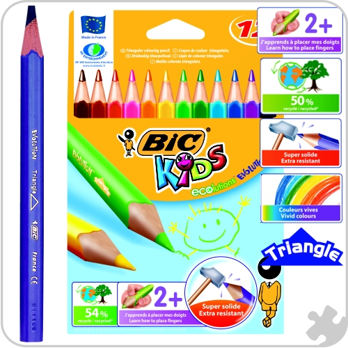 12 Bic Evolution Triangle Colouring Pencils