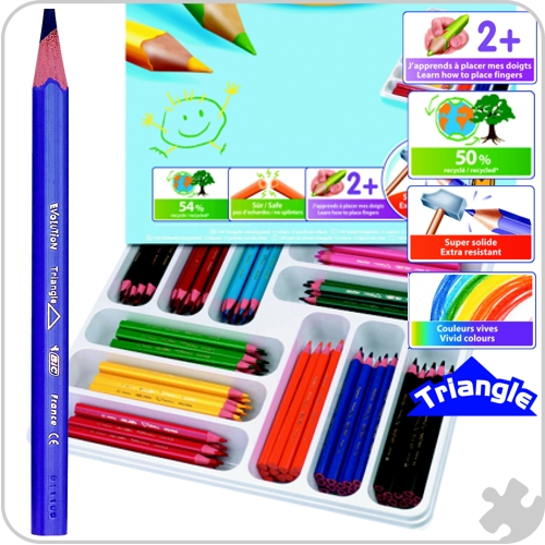 144 Bic Evolution Triangle Colouring Pencils