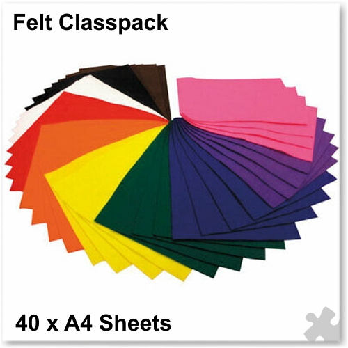 Felt Classpack - 40 A4 Sheets in Assorted Colours