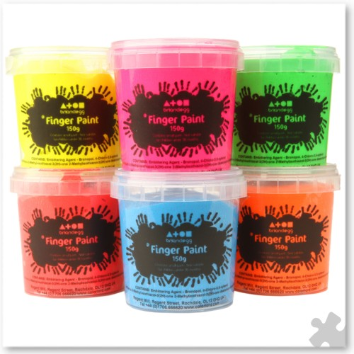 Finger Paints In 6 Fluorescent Colours, 160ml Tubs