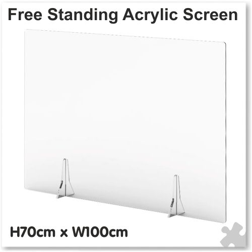 Clear Free Standing Acrylic Screen W100cm x H70cm