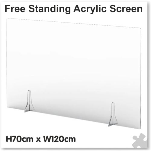 Clear Free Standing Acrylic Screen W120cm x H70cm