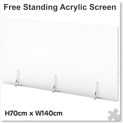 Clear Free Standing Acrylic Screen W140cm x H70cm