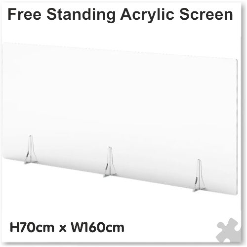 Clear Free Standing Acrylic Screen W160cm x H70cm