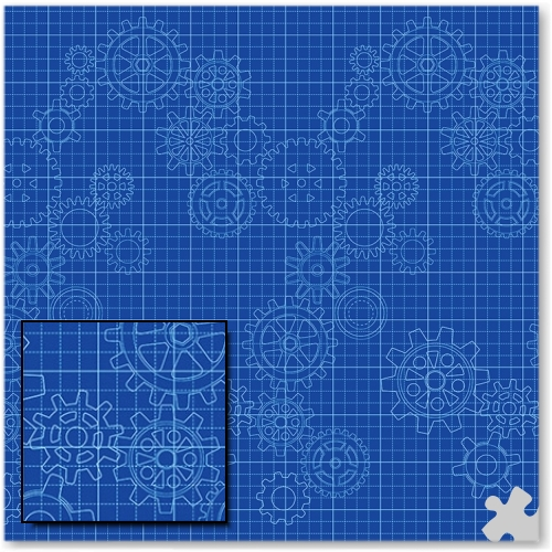 Gears Design Fadeless Display Paper - 3.6m