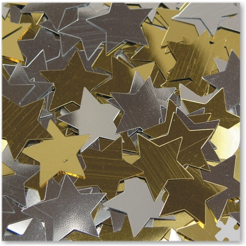 Gold & Silver Star Sequins, 200ml Tub