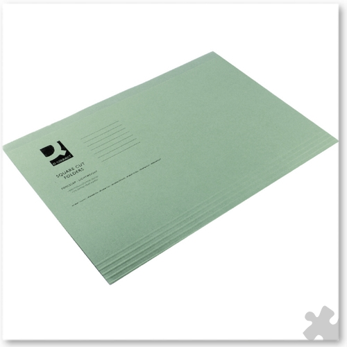 Square Cut Light Weight Folders, 100 Green