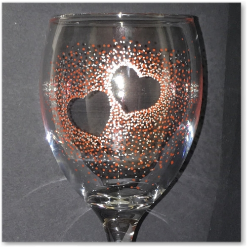 Hand Decorated Wine Glass.