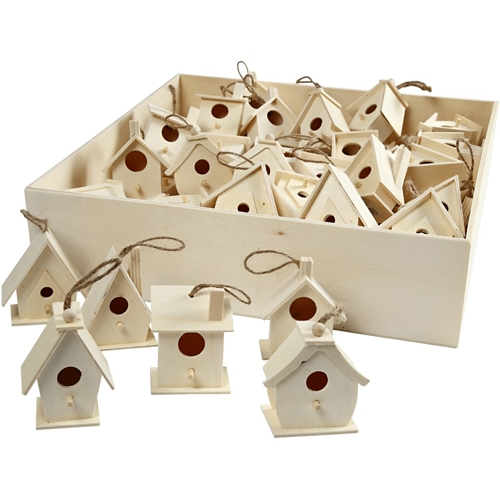 60 Hanging Wooden Mini Birdhouses