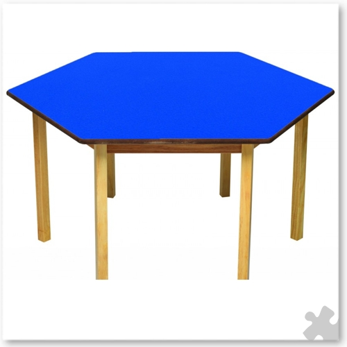 Hexagonal Wooden Table in Blue