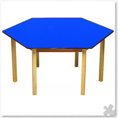 Hexagonal Wooden Table In Blue