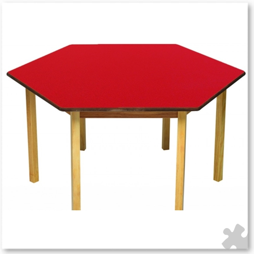 Hexagonal Wooden Table in Red