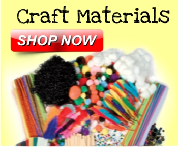 Craft Materials- Bells, die cuts, yarns & felt. Wiggly eyes, pom-poms & pipe cleaners. Craft Foam & shapes. Sequins, Glitter & Jewels. Collage packs, craft Sand, chips & flakes.