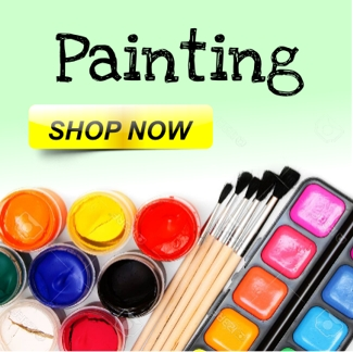 Easels, Aprons, Canvas, Brushes. Ready mixed, poster, powder, acrylic, fabric and glass paints. Marbling & drawing inks